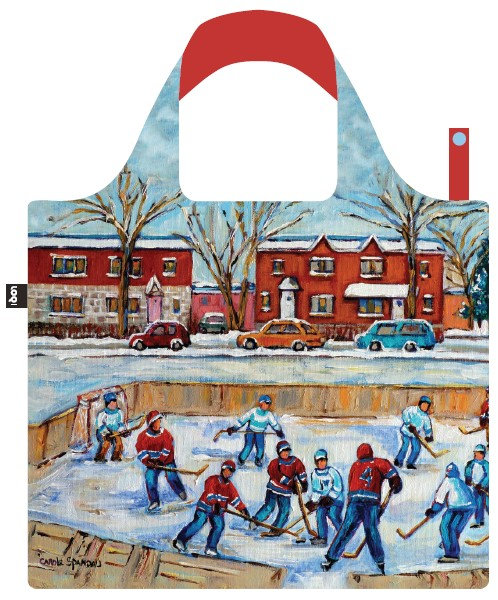 Wide handled cloth shopping bag with red, blue & white scene of jersey clad players on neighborhood hockey rink