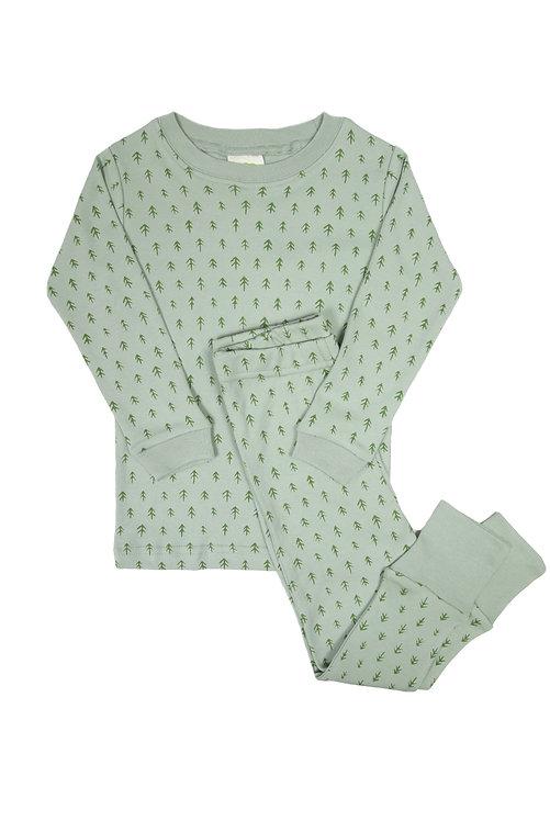 2 piece set of kids pajamas light green with darker green trees print