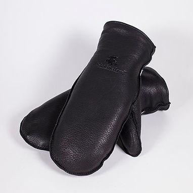 Black Deerskin Leather Mitts - unisex