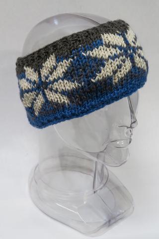 Blue & gray knit wool headband with white snowflake pattern all around