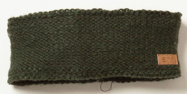 Plain knit wool headband-forest green