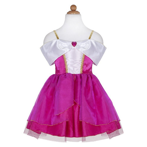back view of pink and white dress-up dress