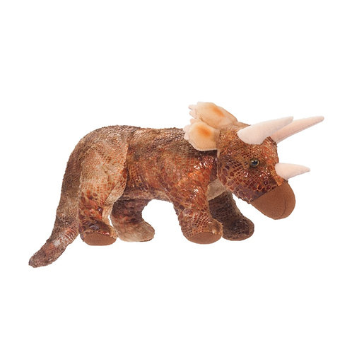 Brown triceratops dinosaur stuffed toy