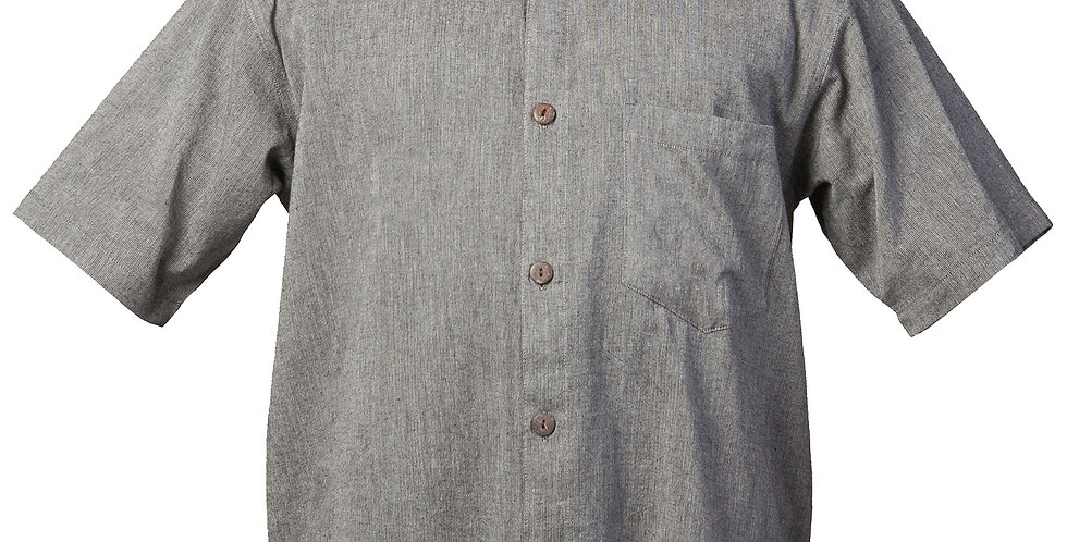 Fair Trade cotton shirt-short sleeves-buttons down the front-solid gray
