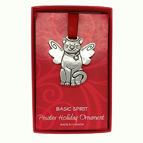 Pewter cat-shaped ornament with angel wings on red ribbon in red box