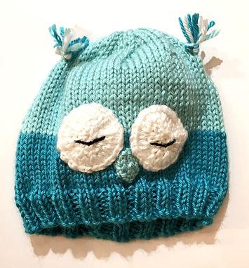 Aqua Sleeping Owl Hand Knit Infant Hat