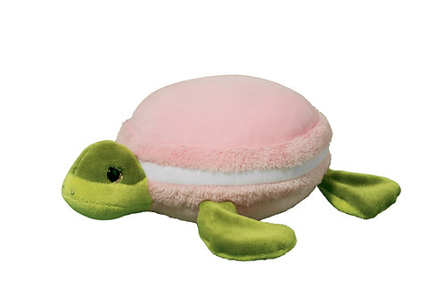 Plush toy shaped like a pink & green turtle