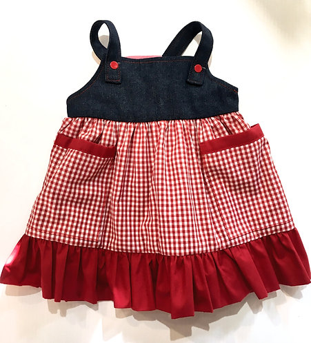 Little girls dress sleeveless-shoulder straps-black bodice-gathered empire waist-A-line red & white checks-red ruffle at hem