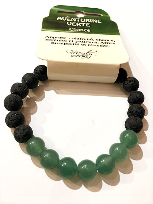 Close up of Lava Bead Stretch Bracelet with green aventurine beads
