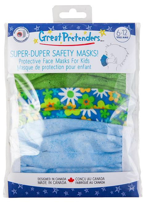 Set of 3 kids masks in plastic package including sky blue, green-blue floral, lime green