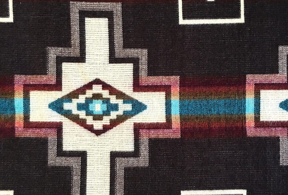 Close up of brown aztec patterned blanket