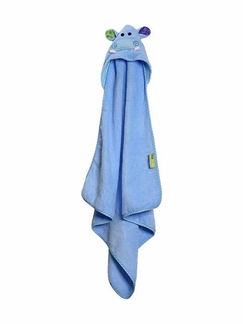 Blue hooded bath towel with hippo face on hood