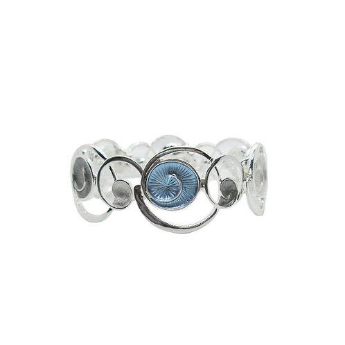 Metallic stretch bracelet of metal rings and swirls - blue, gray & silver