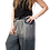 Woman model loose fit pants-elastic waist-drawstring cinch ties at knee-2 outer pockets-large blocks of gray charcoal &black