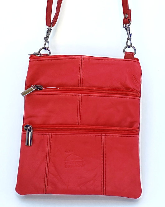 Red Leather Shoulder Strap Purse front view