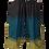 Woman modeling loose fit pants-elastic waist-drawstring cinch ties at knee-2 outer pockets-large blocks-black-teal-olive