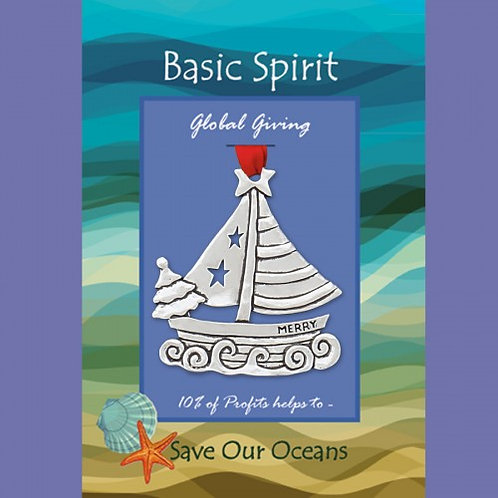 Basic Spirit Pewter Sailboat Save Our Oceans Global Giving Ornament