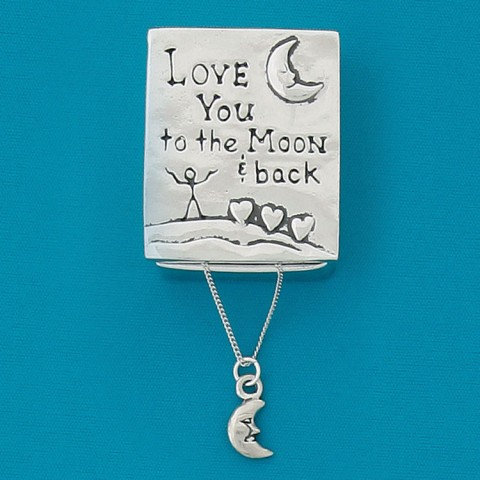 Basic Spirit Pewter To the Moon Wish Box with Moon Necklace, closed