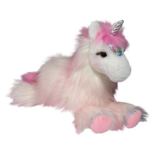 Pink & white deluxe unicorn plush toy