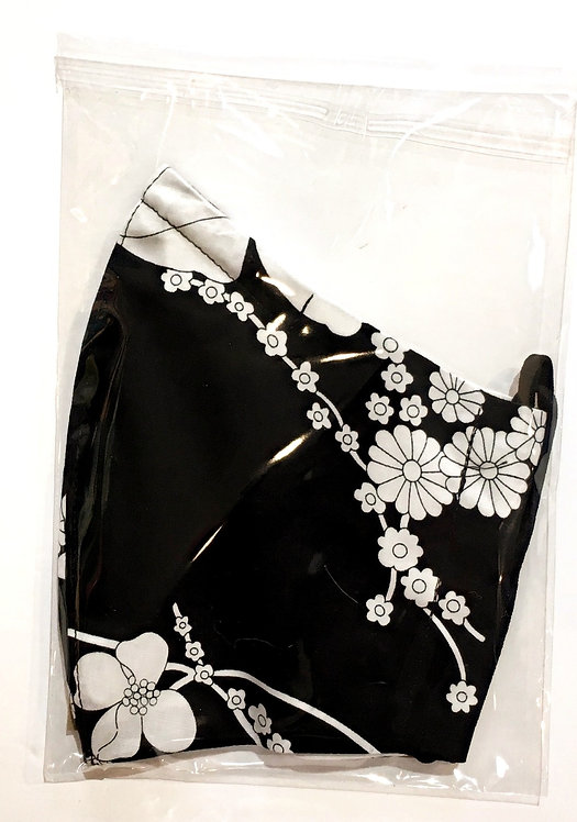 Black & White Floral Reusable Protective Mask