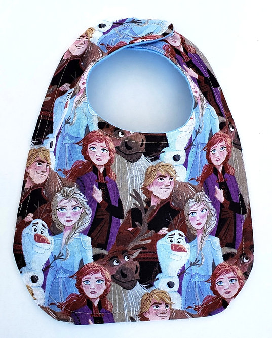 Blue purple and brown oval shaped Handmade Baby Bib - characters from Frozen movie