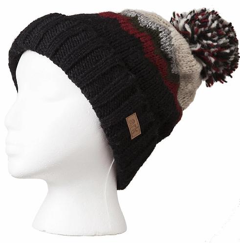 Rib knit toque-black with zigzag stripes of burgundy, gray & white-pompom