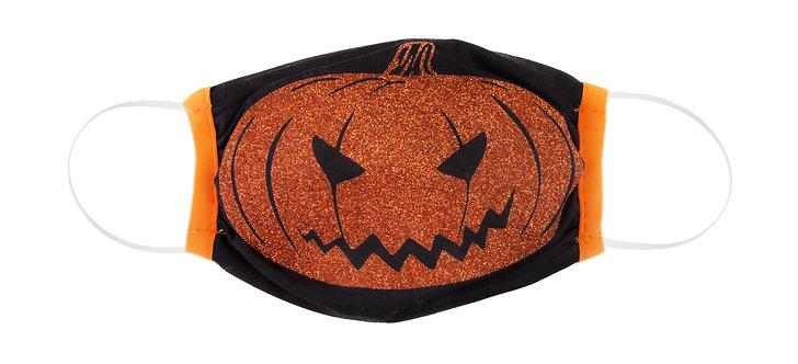 kids cotton protective mask black with large orange jack-o-lantern
