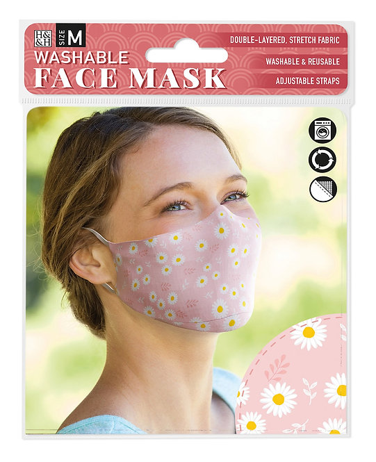 Packaging showing model wearing pink face mask with yellow & white daisy print