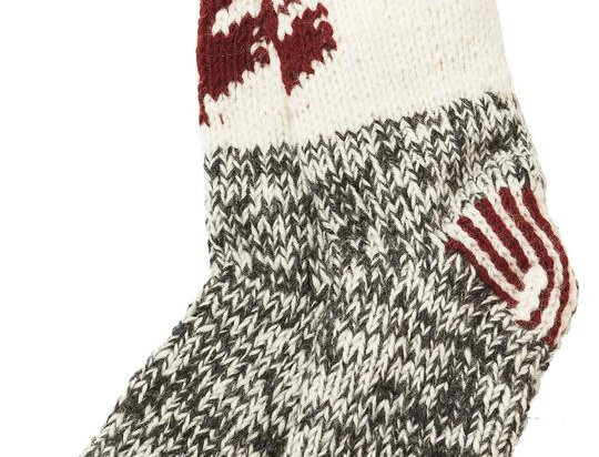 Knitted wool Maple Cabin Socks-charcoal foot with white ankle & red band-red maple leaf