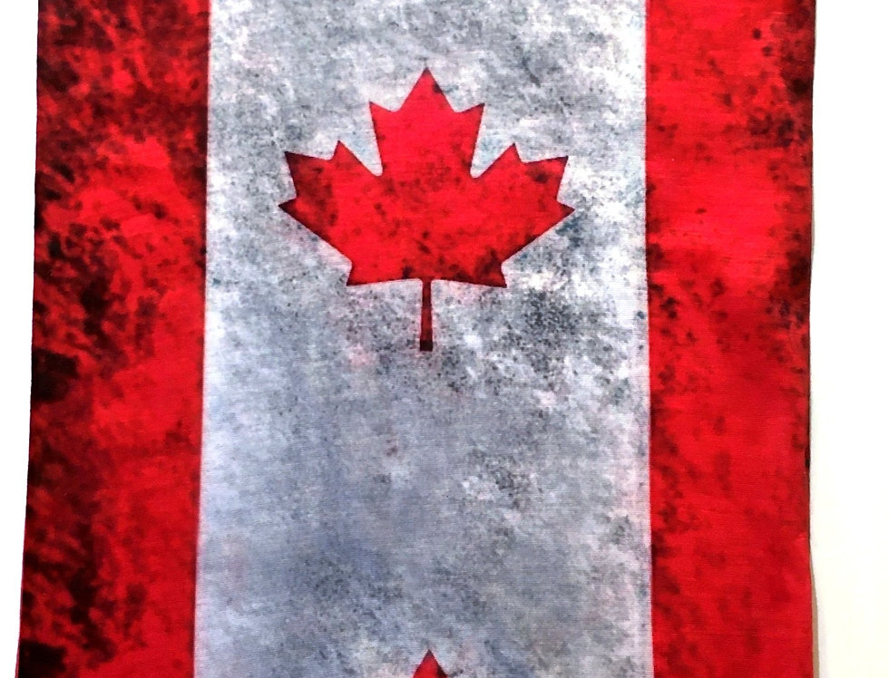 Rectangular tube of fabric with red & white Canada flag print