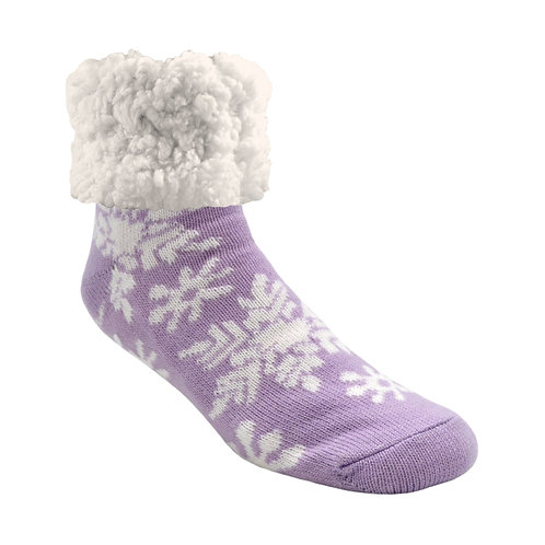Lilac slipper socks with white snowflake print-big white fluffy fleece cuffs