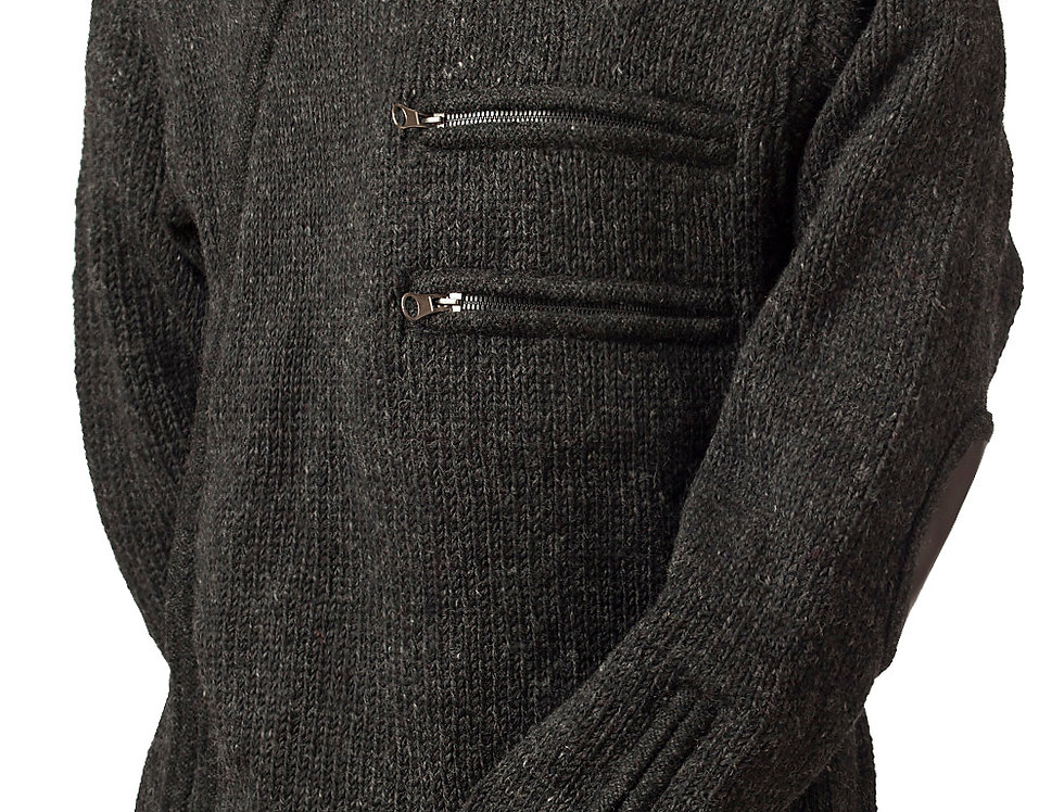 Front view heavy wool knit cardigan-charcoal-off-center zipper-2 zipper pockets on chest-drawstring hood