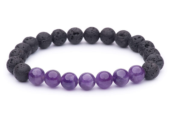 Amethyst & Lava Bead Stretch Bracelet
