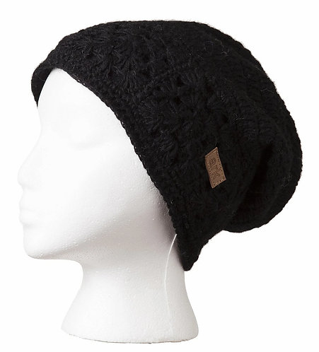 Charcoal wool slouch hat knit in flower pattern