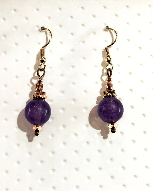 Rose Gold earrings with 10mm purple jade stones
