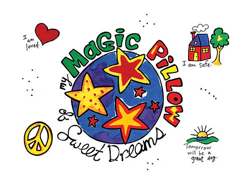 Artburn Magic Pillowcase design showing brightly painted pillowcase