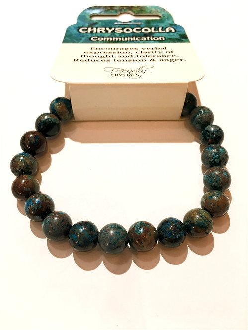 Close up of chrysocolla stone bead stretch bracelet