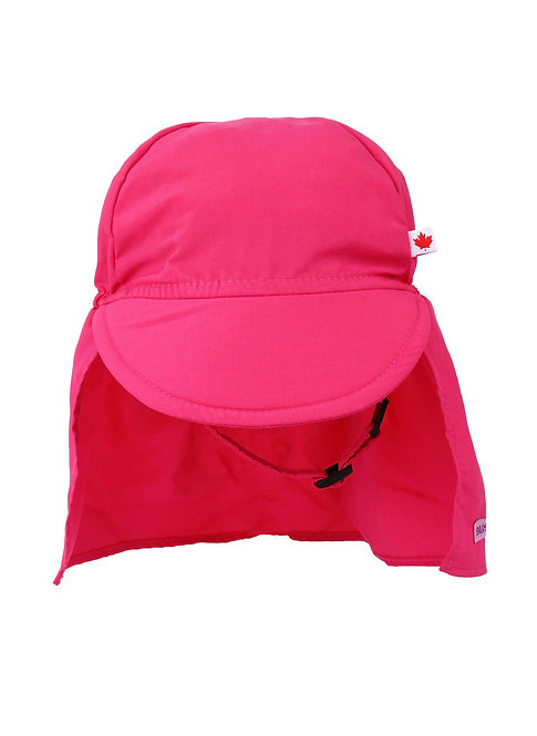 Front view of Child's pink cap style sun hat with peaked brim in front & long fabric attachment to cover neck & ears