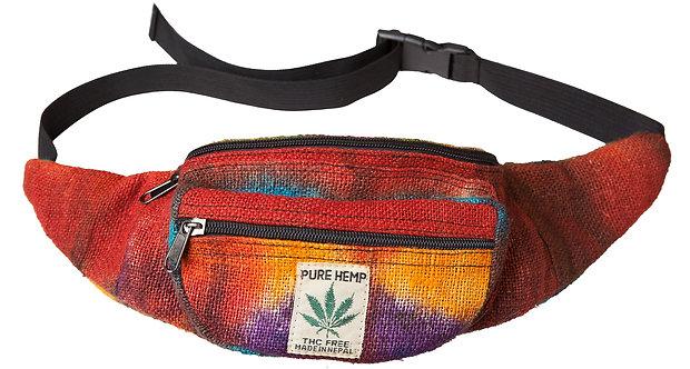 Ark Fair Trade Hemp Hip Pack tie-dye rainbow-sewn on tag reads PURE HEMP THC FREE MADE IN NEPAL in small writing