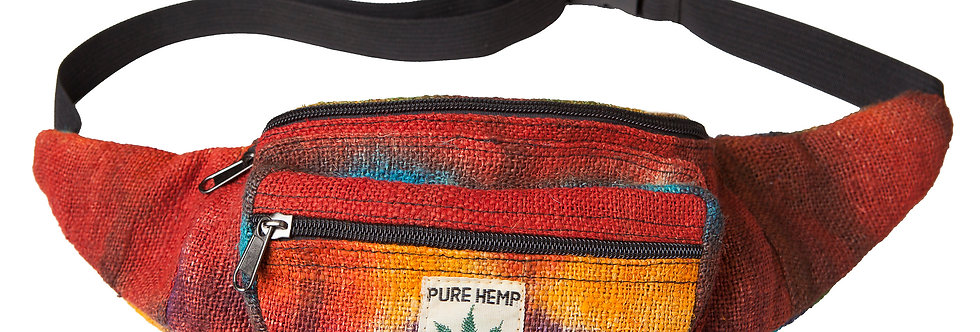 Ark Fair Trade Hemp Hip Pack tie-dye rainbow-sewn on tag reads PURE HEMP THC FREE MADE IN NEPAL in small writing