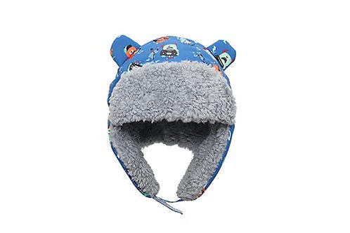 Front view blue water repellent trapper hat with monsters print & gray sherpa lining with earflaps down