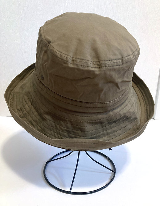 Top front view of olive fabric sun hat on stand