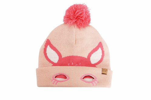 2-tone coral knitted toque with pompom & deer face stitched onto front, cuffed brim folded back
