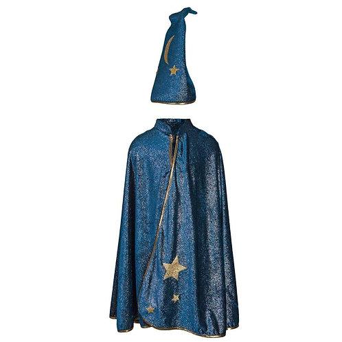 Long dark blue Starry Night Wizard Cape & Hat