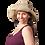 Female modeling Hemp Wire Rim Fringe Hat - Natural unbleached colour