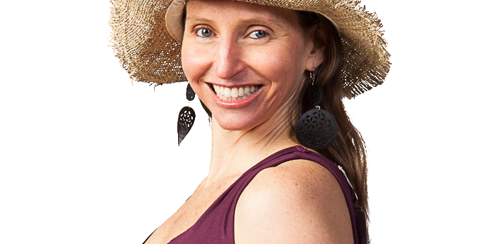 Female modeling Hemp Wire Rim Fringe Hat - Natural unbleached colour