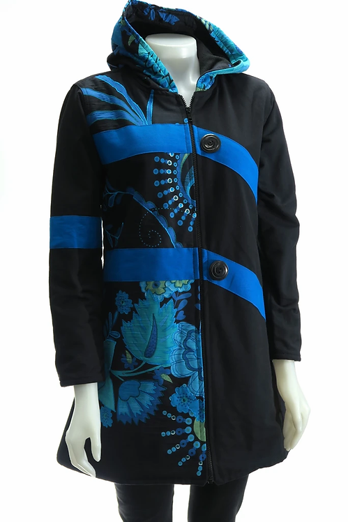 Long sl-knee-length fr zipper black jacket 2 broad blue horizontal stripes-turq&blue floral embroidered panel-front right