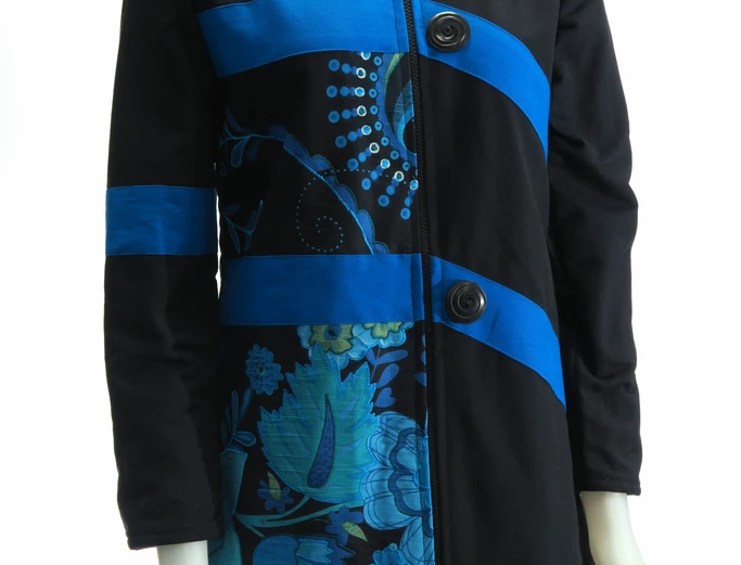 Long sl-knee-length fr zipper black jacket 2 broad blue horizontal stripes-turq&blue floral embroidered panel-front right