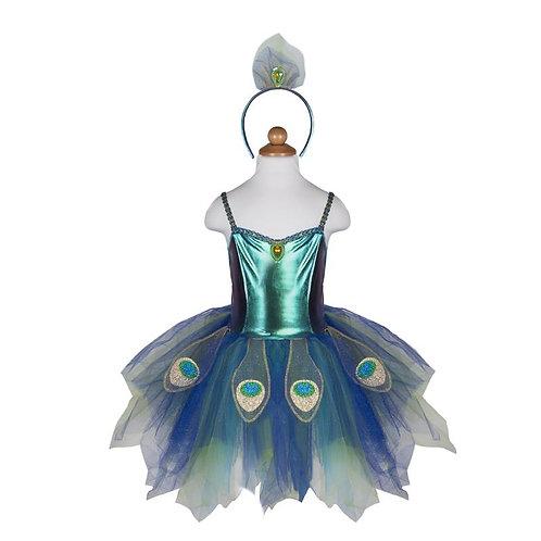 Child's tutu dress with shiny teal bodice& blue, gold & green tutu peacock feather pattern, matching headband