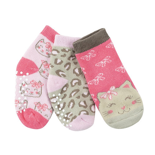 3 little baby socks in pink & gray prints